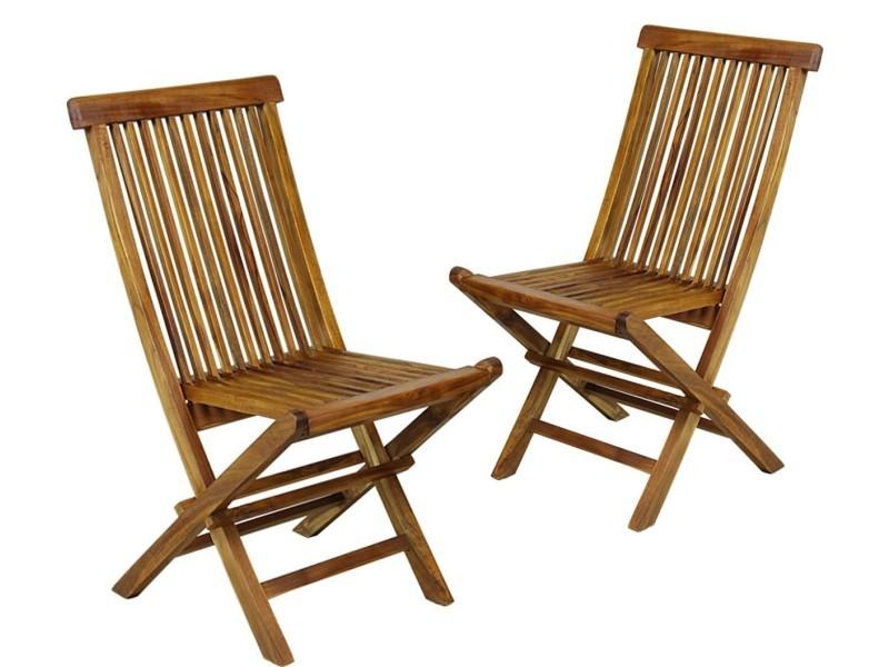 Lot de 2 chaises de jardin en teck huilé , chaises pliantes