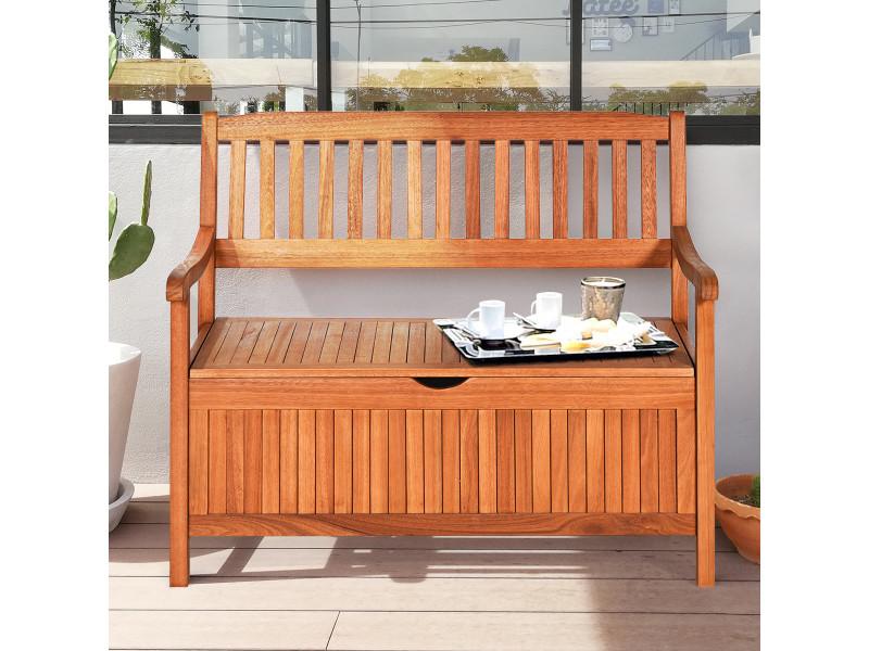 Banc de jardin 2 places 107 x 59 x 90 cm en bois d'eucalyptus avec compartiment de rangement pour jardin, terrasse, balcon