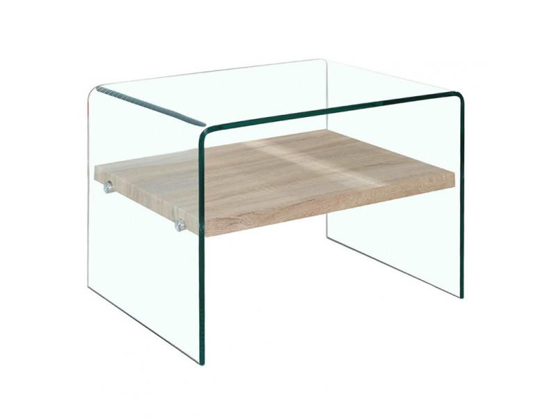 Petite table d'appoint en verre - étagère en bois décor chêne - ice