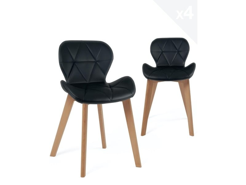 Lot de 4 chaises scandinaves design simili cuir FATI (noir) 675