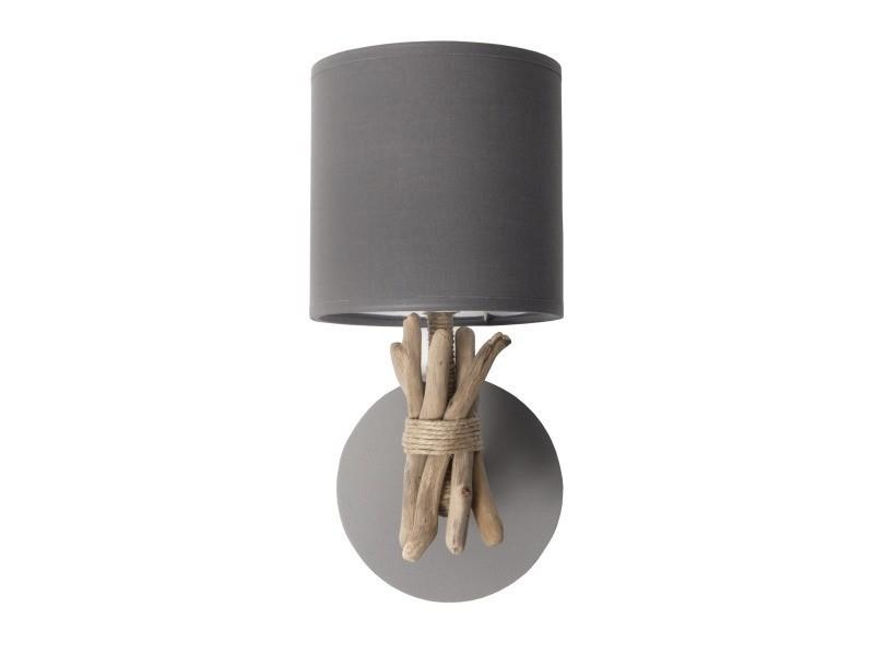 Lampe applique murale artisanale en bois flotté naturel - fabriquée à la main en france - couleur : cendre