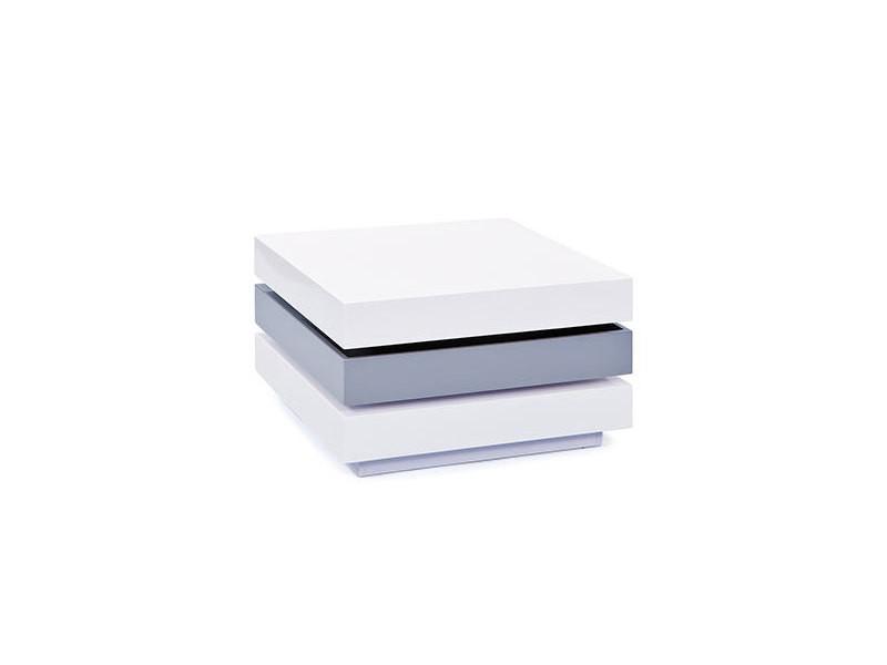 Table basse carré 70 cm pivotante laqué blanc et gris - turn