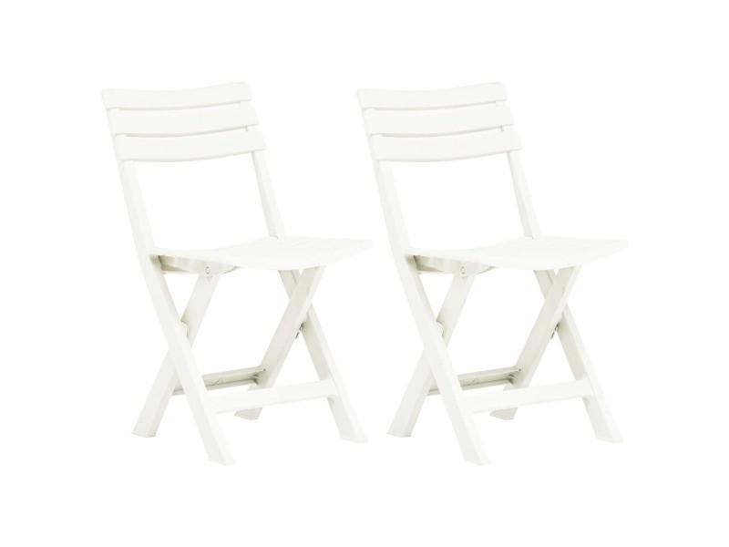 Vidaxl chaises de jardin pliables 2 pcs plastique blanc 48786