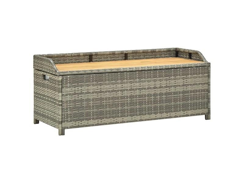 Inedit sièges de jardin serie budapest banc de rangement de jardin 120 cm résine tressée gris