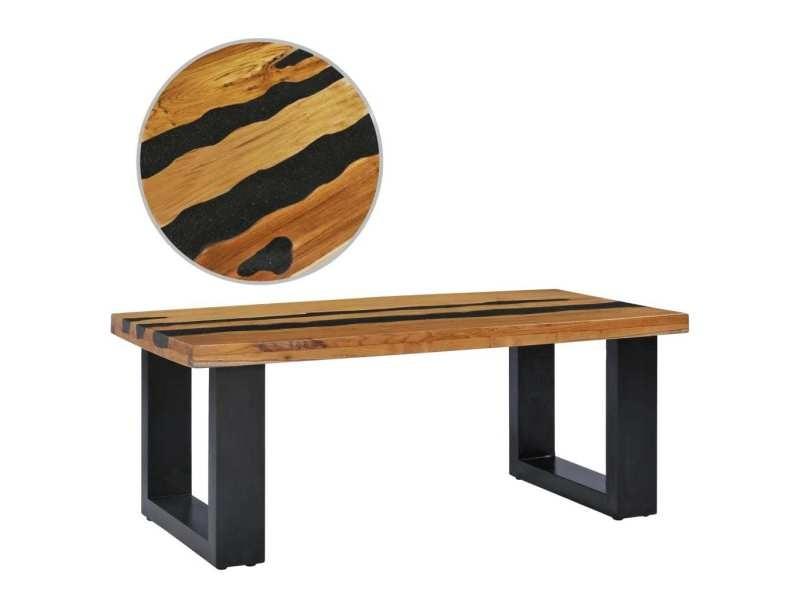 Vidaxl table basse 100x50x40 cm bois de teck massif et pierre de lave 281645