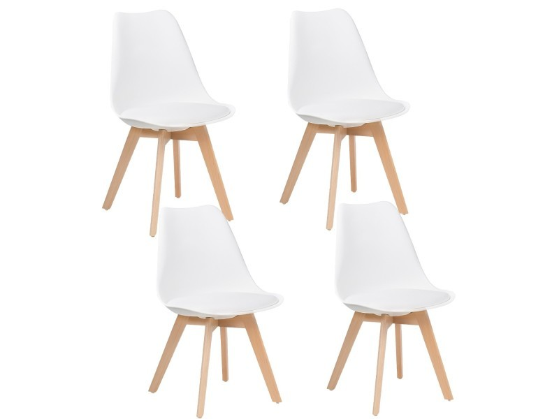 lot de 4 chaises design scandinave blanc skagen vente de chaise conforama. Black Bedroom Furniture Sets. Home Design Ideas