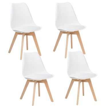 lot de 4 chaises design scandinave blanc skagen vente. Black Bedroom Furniture Sets. Home Design Ideas