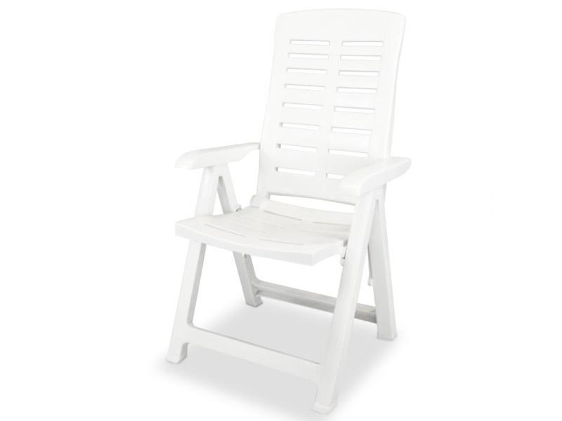 Vidaxl 2 pcs chaises inclinables de jardin plastique blanc 43895