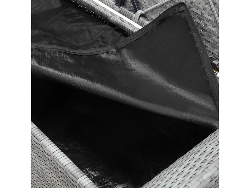 Icaverne - bancs de jardin famille banc de rangement avec coussin gris 138 cm résine tressée