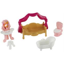 Mobilier pour figurines princess coralie : lit à baldaquin et salle de bain