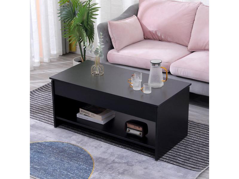 Table basse avec plateau relevable noire hedda