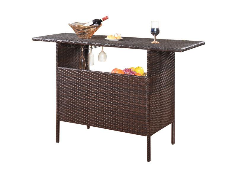 Giantex table de bar de jardin en résine tressée avec 2 etagères de rangement, 2 de rails pour porte-verres marron