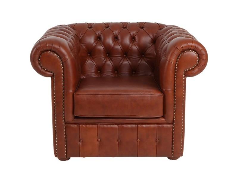 Fauteuil cuir marron clair - chesterfield - l 107 x l 96 x h 81 - neuf