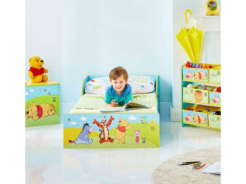 Lit simple pour enfant en bois coloris bleu motif winnie l ...