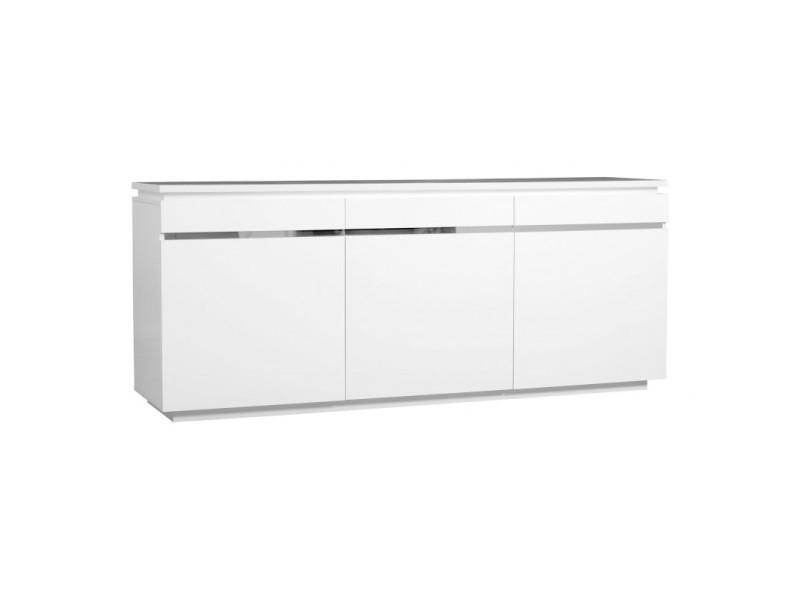 Buffet/bahut design blanc 200 cm amelie