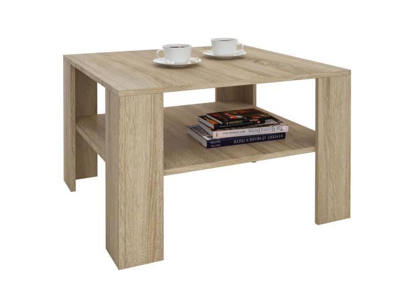 Table basse sejour, table de salon de forme carrée avec 1 étagère espace de rangement ouvert, en mélaminé décor chêne sonoma