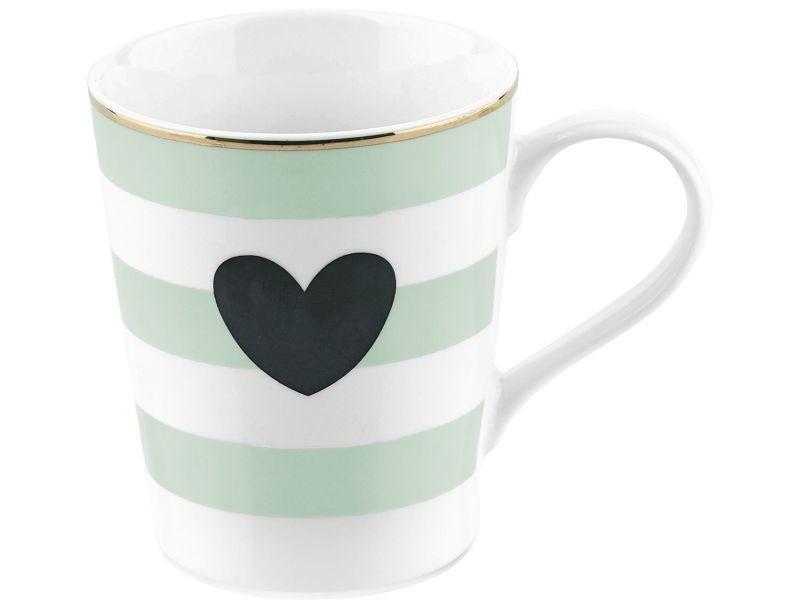 Mug avec poignée rayures et cœur - vert