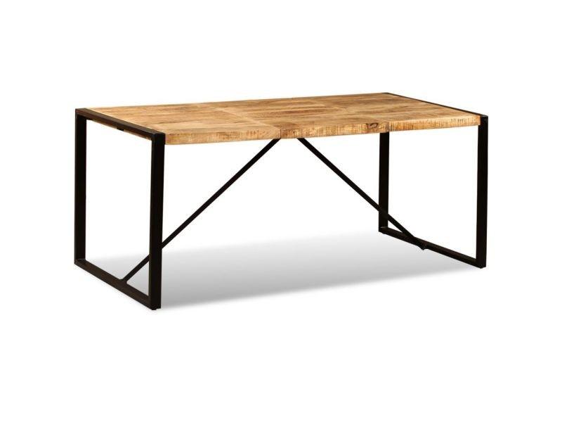 Distingué tables famille port-louis table de salle à manger bois de manguier brut 180 cm
