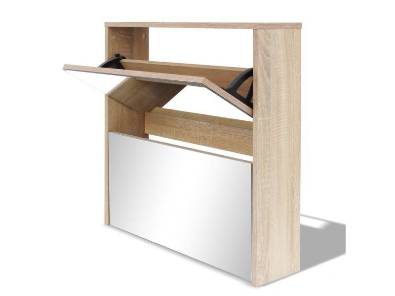 Icaverne - etagères et casiers à chaussures famille meuble à chaussures 2 étages avec miroir 63 x 17 x 67 cm chêne