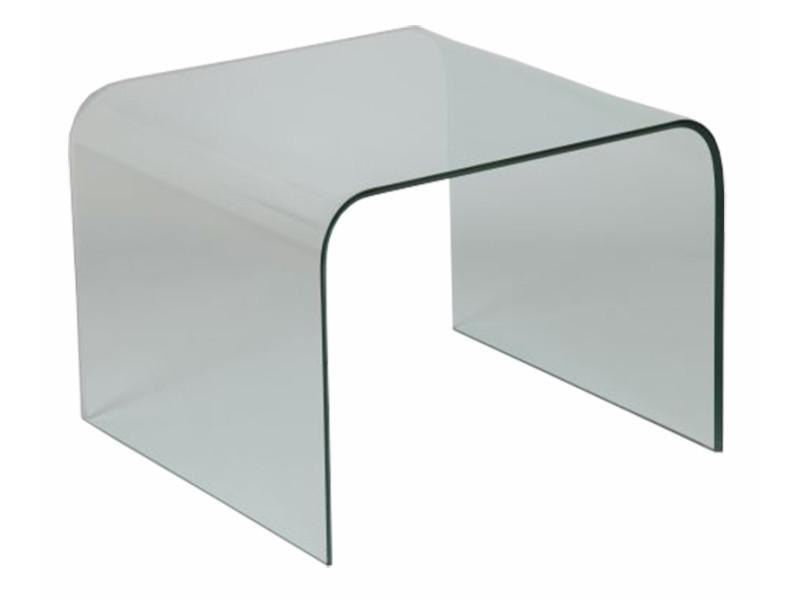 Bout de canapé en verre, l. 650 x p.650 x ht. 490 mm -pegane-