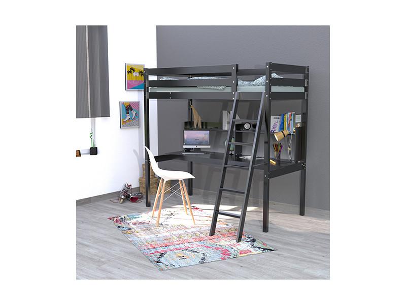Lit mezzanine studio 90x190 + 1 sommier + bureau + étagère