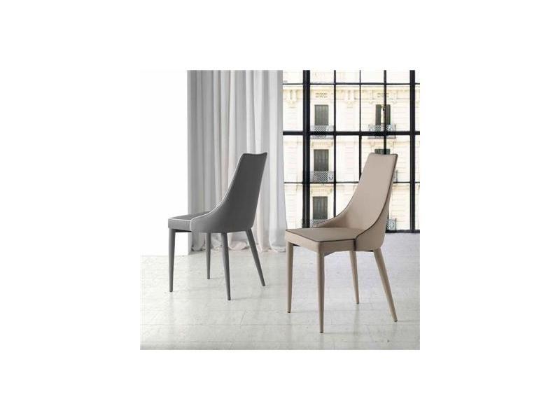 Chaise salle manger design grise katia lot de 2 - Conforama chaises salle a manger ...