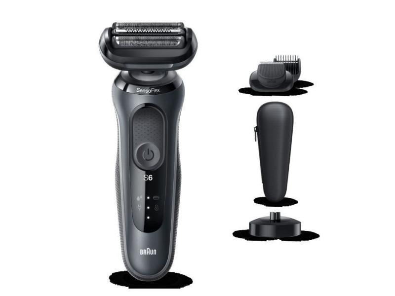 Braun series 6 60-n4500cs tondeuse barbe - 3 sabots - station de charge - technologie sensoflex -autonomie 50min