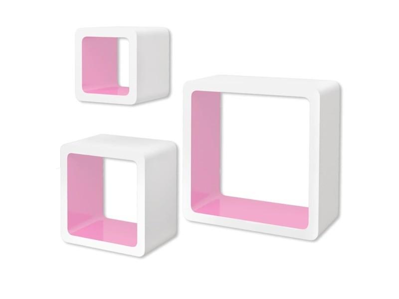 Vidaxl 3 etagères cubes murales en mdf blanc-rose pour livres/dvd 242173