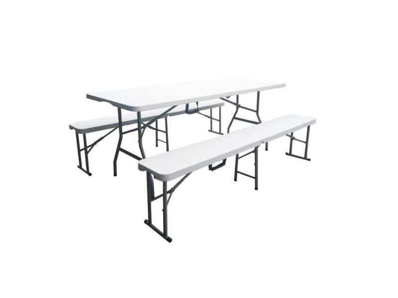 Salon de jardin - ensemble table chaise fauteuil de jardin ensemble de table pliante 180 cm et 2 bancs pliables 180 cm - pied haut - tableau eva