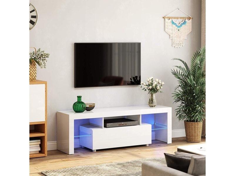 Vasagle meuble tv, support télé, pour tv jusqu'à 60 pouces, grand, avec bandes lumineuses led, meuble de salon, 140 x 35 x 45 cm, moderne, blanc brillant ltv14wt Avec Bandes Lumineuses LED,140 x 35 x 45 cm