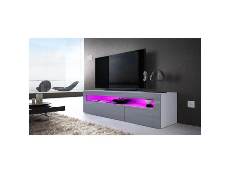 Meuble tv 155 cm blanc mat / facade laqué gris + led