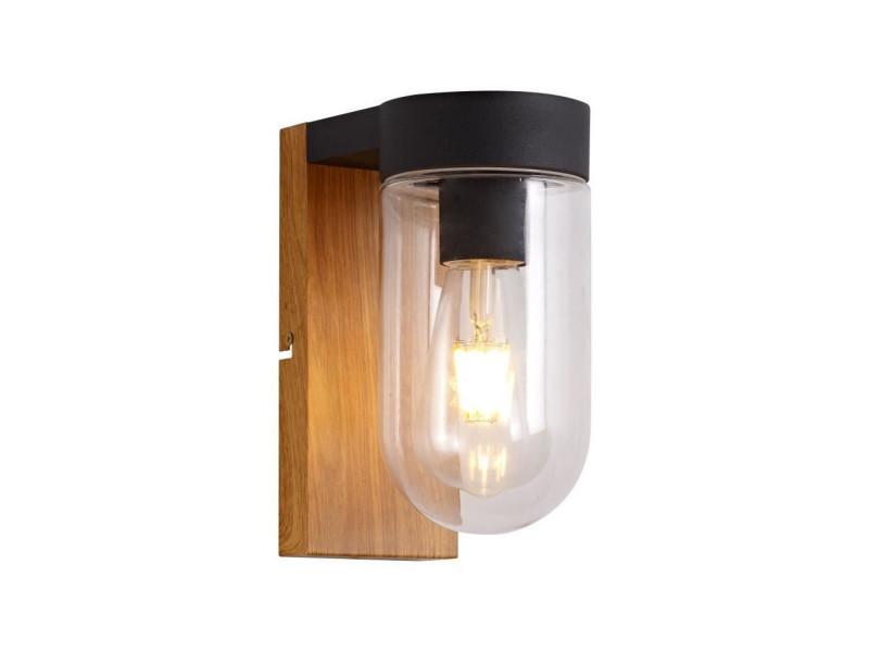 Applique extérieure cabar - e27 - 1x40w - coloris bois fonc et noir BRI4004353367250