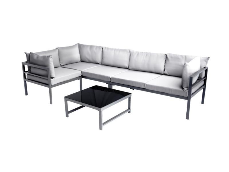 Salon de jardin en métal avec table, canapé d\'angle et ...