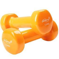 2 haltères vinyle fitness poids 2 x 1,5 kg sport fitness musculation 0701073