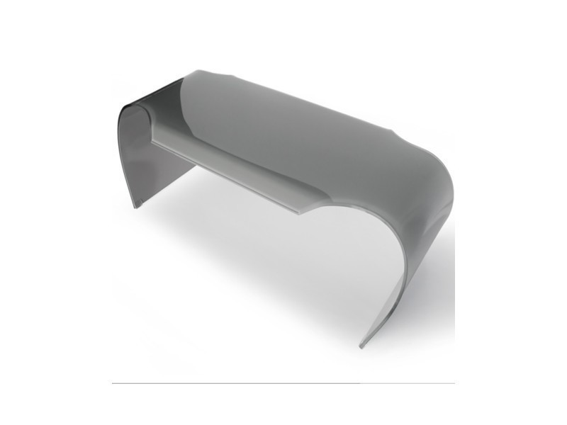 Table basse en verre gris - l:149,5 l:66,5 h:45 - baakal and ross