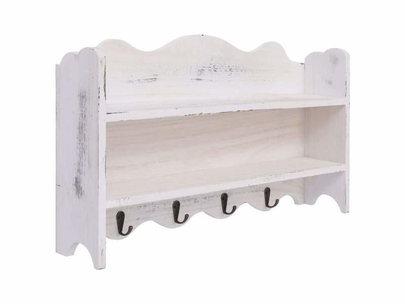 Porte-manteau mural étagère en bois blanc 50x10x30 cm bois dec024214