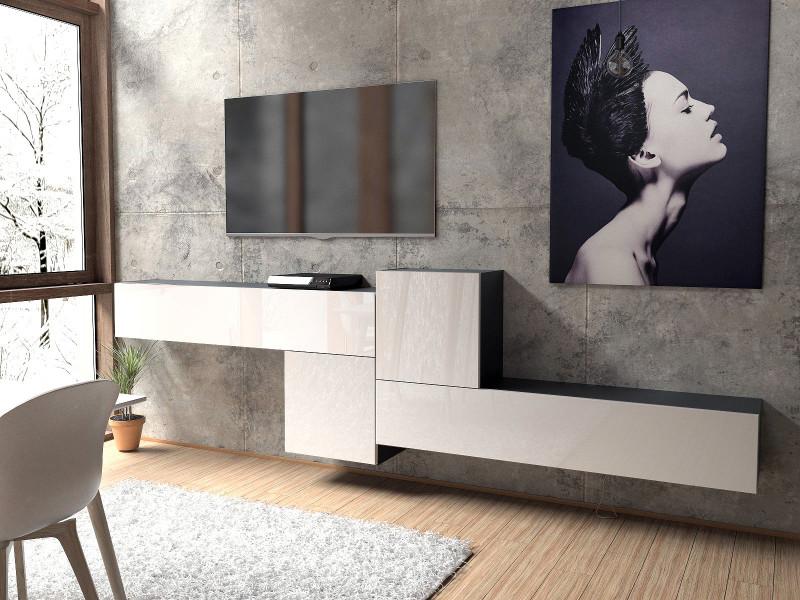 Ensemble de 4 meubles suspendus noirs mat et façades en laqué blancs
