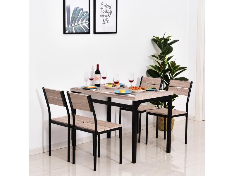 Table De Salle A Manger Avec 4 Chaises Style Industriel Acier Noir Mdf Coloris Bois Chene