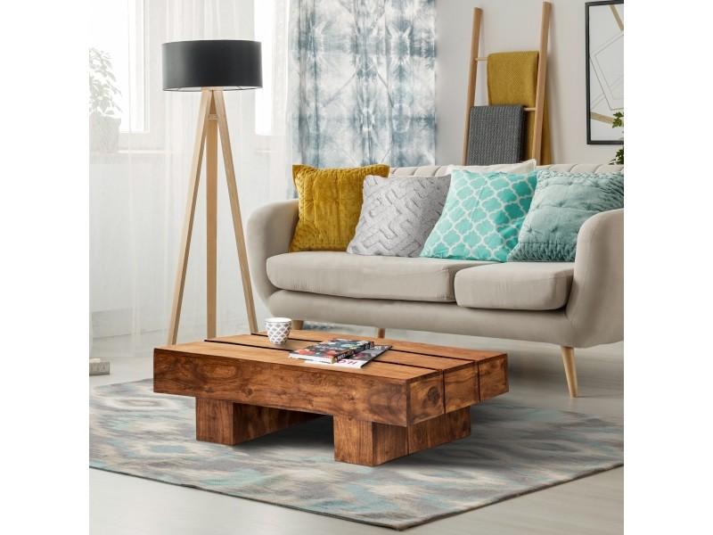 Table basse marron, 100x45x30 cm, bois d'acacia massif 390002308