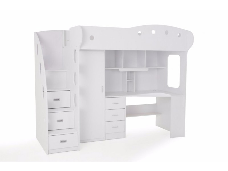 lit mezzanine combi combin bureau penderie blanche 20100848461 vente de lit adulte conforama. Black Bedroom Furniture Sets. Home Design Ideas