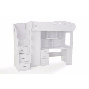 lit mezzanine combi combin bureau penderie blanche 20100848461 vente de lit adulte conforama. Black Bedroom Furniture Sets. Home Design Ideas