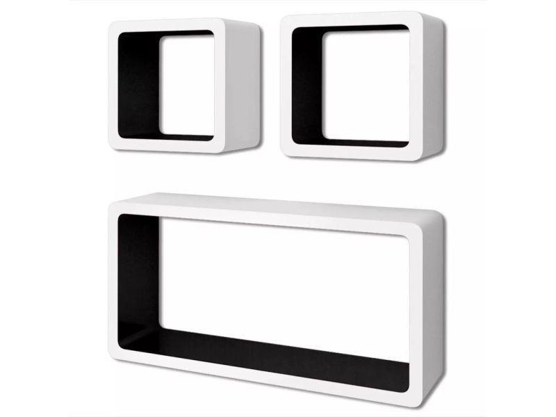 Vidaxl 3 etagères cubes murales et en mdf blanc-noir pour dvd/livres 242164
