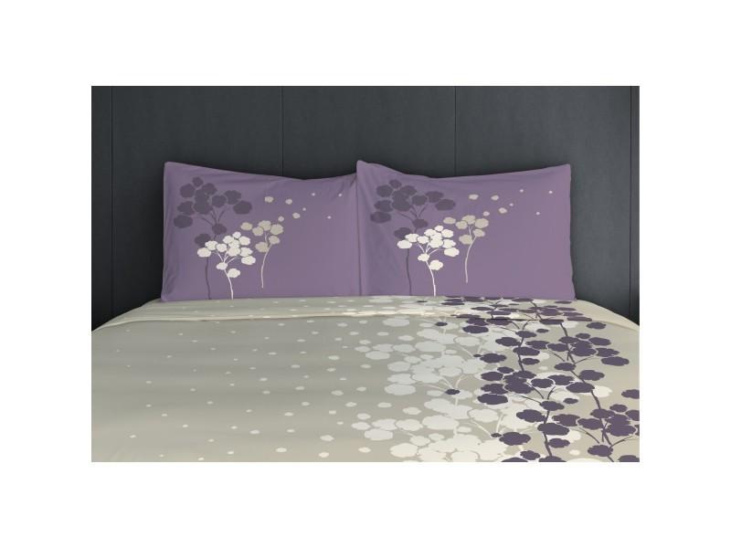 Parure de draps - pièces cocon 57 fils - 2 personnes 240x300 cm - beige violet 62157