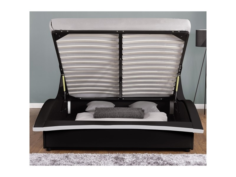 lit camden structure de lit en simili noir avec coffre et led int gr es 140x190 cm vente. Black Bedroom Furniture Sets. Home Design Ideas