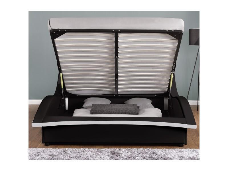 lit camden structure de lit en simili noir avec coffre et led int gr es 140x190 cm vente. Black Bedroom Furniture Sets. Home Design Ideas