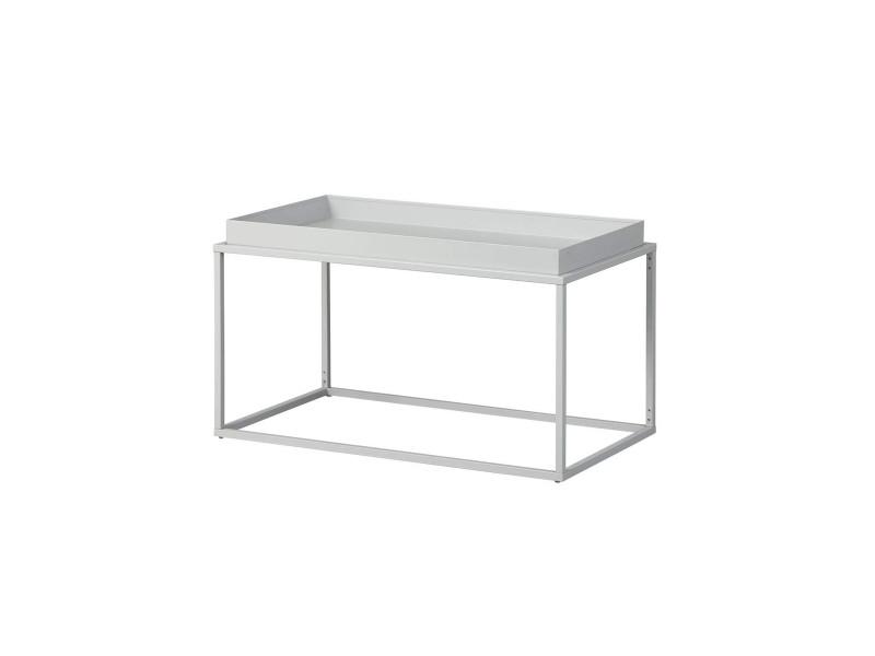 Table basse en métal laqué coloris gris - l80 x p45 x h45 cm -pegane-