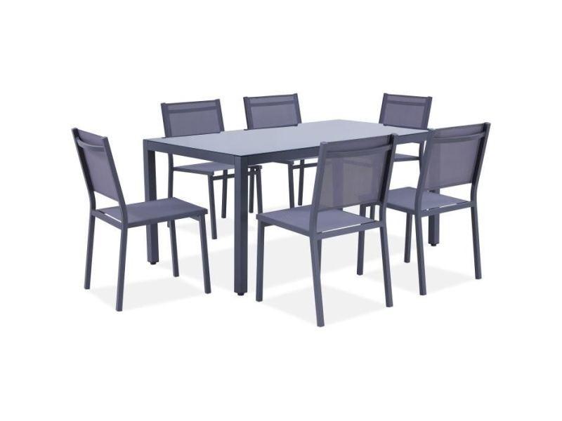 Salon de jardin - ensemble table chaise fauteuil de jardin ensemble repas de jardin - table 160 cm plateau verre + 6 chaises aluminium gris