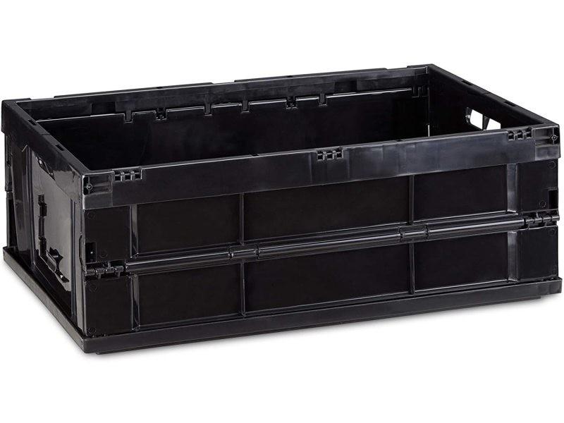 Boîte de transport rangement pliable 40 litres noir helloshop26 13_0000495