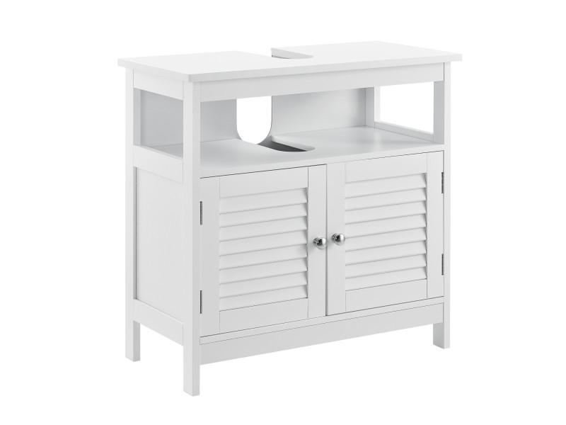 [en.casa] armoire de salle de bain dessous de lavabo meuble dessous rangement 3 surfaces stockage 60 x 60 x 30 cm mdf laqué blanc