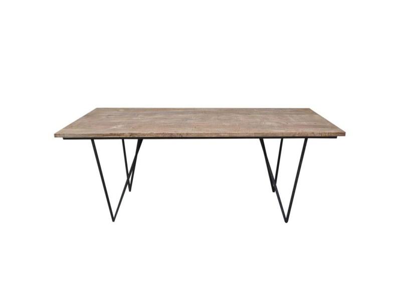 Table de repas en bois - factory - l 200 x l 90 x h 75 - neuf